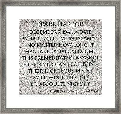 Pearl Harbor Speech - Franklin Delano Roosevelt Framed Print