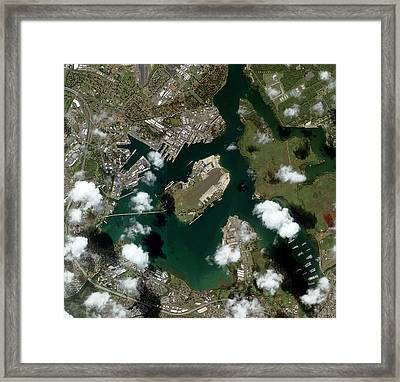 Pearl Harbour Framed Print by Geoeye/science Photo Library