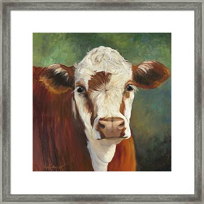 Pearl Iv Cow Painting Framed Print