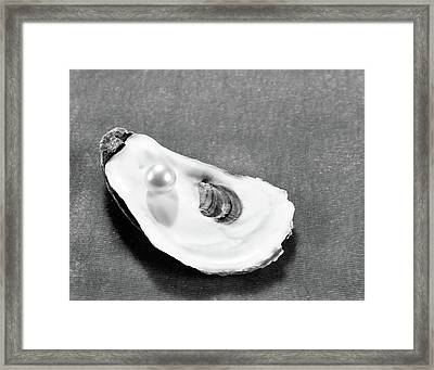 Pearl On Oyster Shell Framed Print