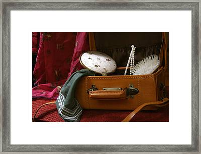 Pearls And Brush Set In A Suitcase Framed Print