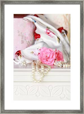 Pearls And Flowers Framed Print by Stephanie Frey
