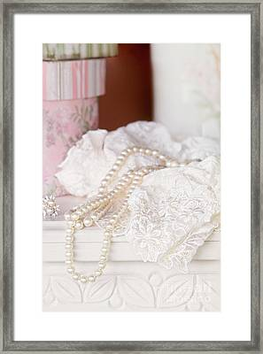 Pearls And Lacy Lingerie Framed Print