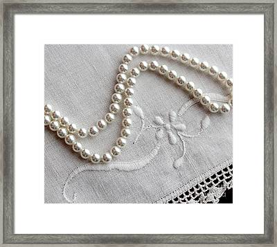 Pearls And Old Linen Framed Print by Barbara Griffin