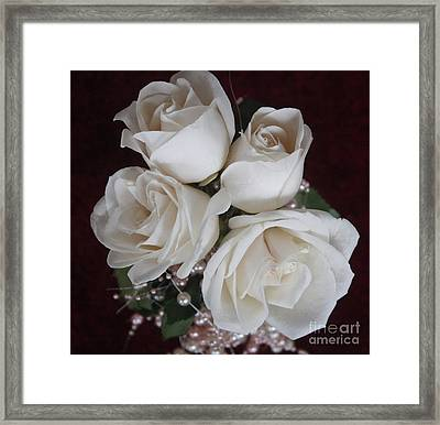 Pearls And Roses Framed Print by Nancy TeWinkel Lauren