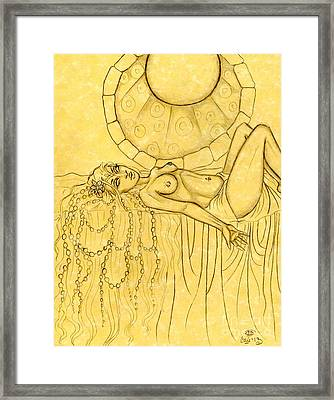 Pearls Entwined In Her Hair Sketch Framed Print by Coriander  Shea