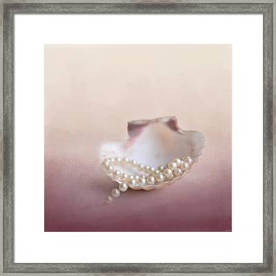 Pearls On A Shell Framed Print by Jai Johnson
