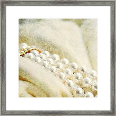 Pearls On White Velvet Framed Print by Theresa Tahara