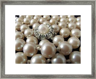 Pearls String Strand Vintage Hand Knotted Framed Print by Diane McElhaney