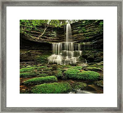 Pearly Creek Falls Near Buffalo River Framed Print