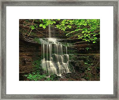 Pearly Creek Falls Surrounded By Green Framed Print