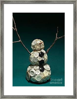 Pearly Snowman Christmas Card Framed Print