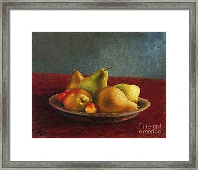 Pears And Cherries Framed Print