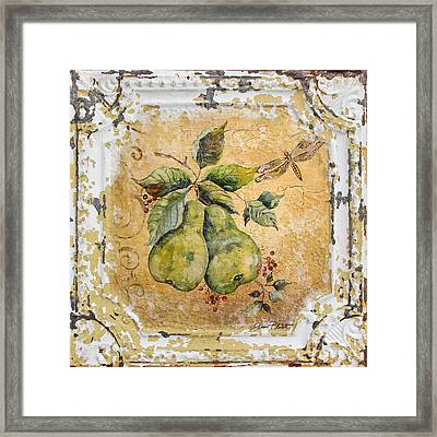 Pears And Dragonfly On Vintage Tin Framed Print by Jean Plout