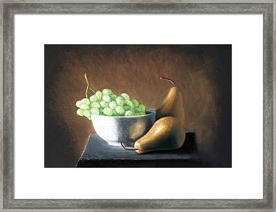 Pears And Grapes Framed Print by Joseph Ogle