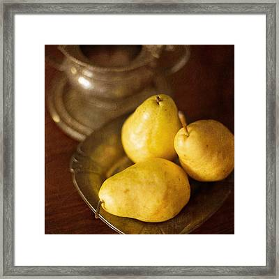 Pears And Great Grandpa's Silver Framed Print