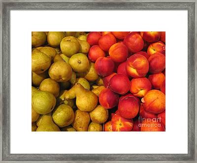 Pears And Peaches. Fresh Market Series Framed Print by Ausra Huntington nee Paulauskaite