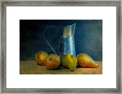 Pears And Pitcher Framed Print by Diana Angstadt