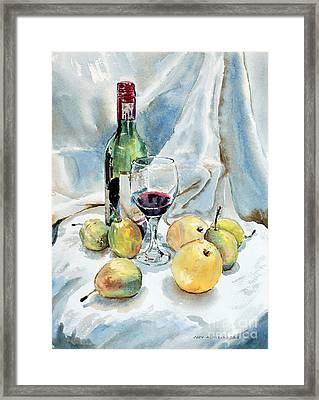 Pears And Wine Framed Print