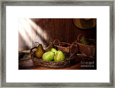 Pears At The Old Farm Market Framed Print by Olivier Le Queinec