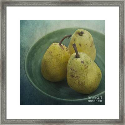 Pears In A Square Framed Print by Priska Wettstein