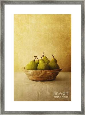 Pears In A Wooden Bowl Framed Print by Priska Wettstein