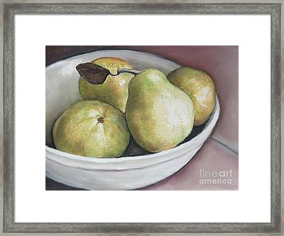 Pears In Bowl Framed Print by Charlotte Yealey