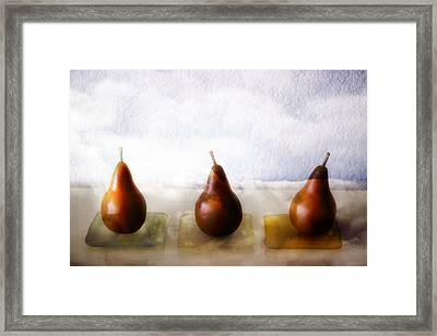 Pears In The Clouds Framed Print by Carol Leigh