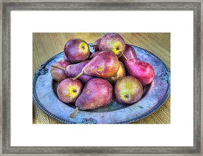Pears On A Plate Framed Print by Victor Marsh