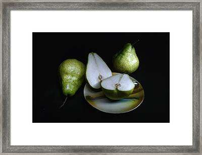 Pears On Noritake - Still Life Framed Print