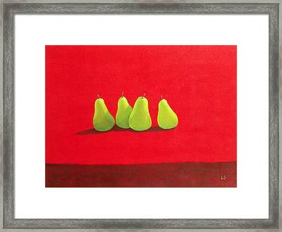 Pears On Red Cloth Framed Print by Lincoln Seligman