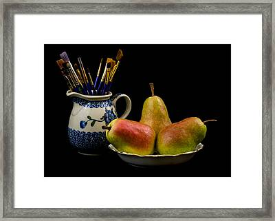 Pears Paintbrushes And Pottery Framed Print by Jon Woodhams