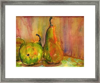 Pears Still Life Art  Framed Print by Blenda Studio