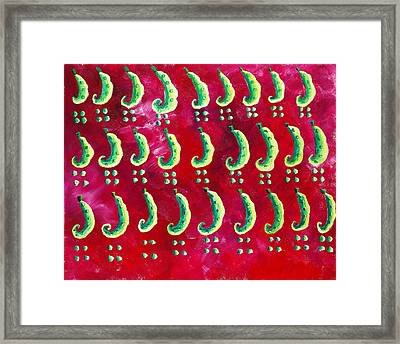 Peas On A Red Background Framed Print by Julie Nicholls