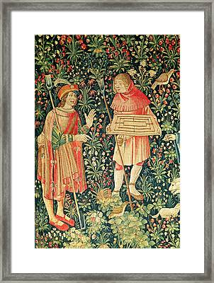 Peasant Carrying A Jeu De Marelle Board Framed Print