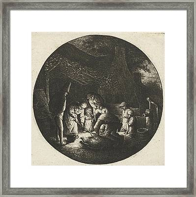 Peasant Family And The Slaughter Of A Pig Framed Print