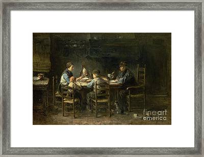 Peasant Family At The Table Framed Print by Celestial Images