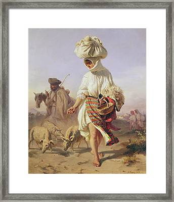 Peasant Girl Feeding Pigs Framed Print by Karoly Sterio