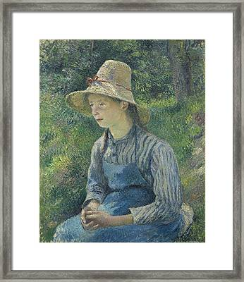 Peasant Girl In A Straw Hat - Camille Pissarro Framed Print by J Morgan Massey