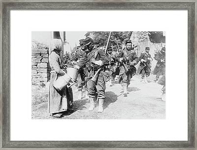 Peasant Giving Drink To French Soldiers Framed Print by Stocktrek Images