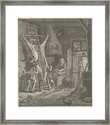 Peasant Interior With Carcass Framed Print by Jacob Louys