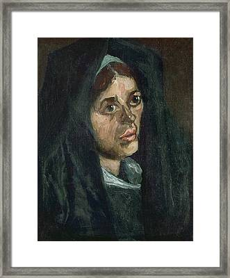 Peasant With Moss Green Shawl Framed Print by Vincent Van Gogh