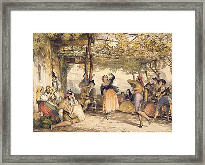 Peasants Dancing The Bolero Framed Print by John Frederick Lewis