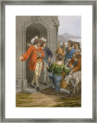 Peasants Giving Tithes, Alpine Region Framed Print by Italian School