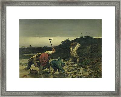 Peasants Harvesting Potatoes During The Flood Of The Rhine In 1852 Oil On Canvas Framed Print