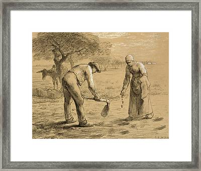 Peasants Planting Potatoes  Framed Print by Jean-Francois Millet
