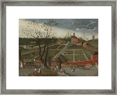 Peasants Walking Along A Road With Horse Framed Print by Celestial Images