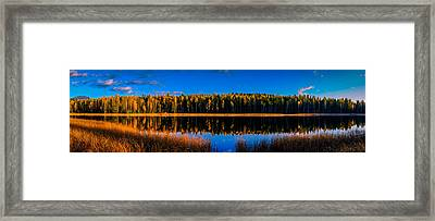 Framed Print featuring the photograph Peavine Pond Panorama by Rob Tullis