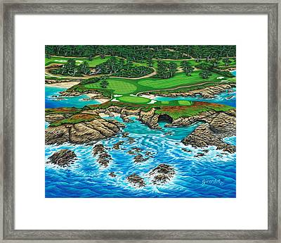 Framed Print featuring the painting Pebble Beach 15th Hole-north by Jane Girardot