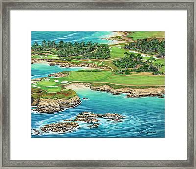 Framed Print featuring the painting Pebble Beach 15th Hole-south by Jane Girardot